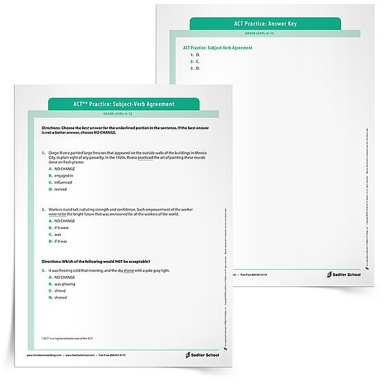 Prepare For The Act With Subject Verb Agreement Practice Worksheets