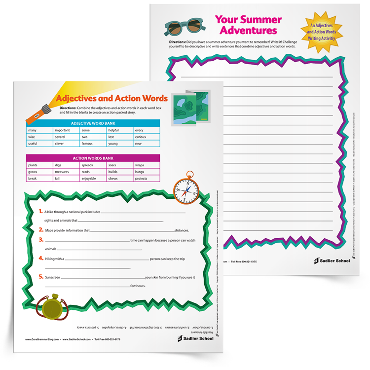 free printable worksheet that students can use to practice making different combinations of adjectives and actions words.