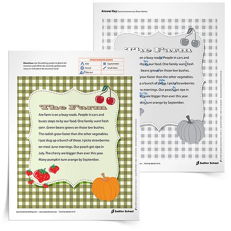 Summer Learning Activity- The Farm Editing Errors
