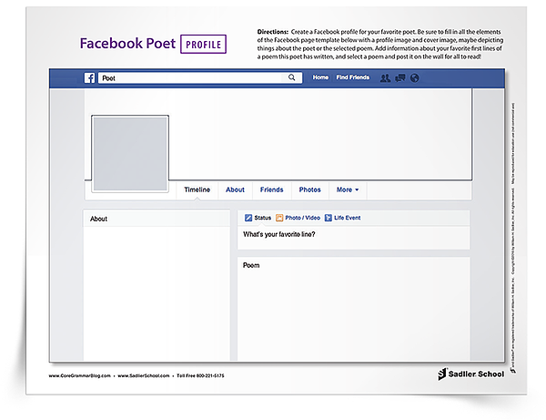 """This fun activity combines research, poetry, and social media!  With the Facebook Poet Profile Poetry Activity, each student will research a poet and use the information he or she gathers to create a mock Facebook page. Using the printable Facebook page template, students will create a profile and cover image, fill out an """"About me"""" section, and write status updates as if they are the poet!"""
