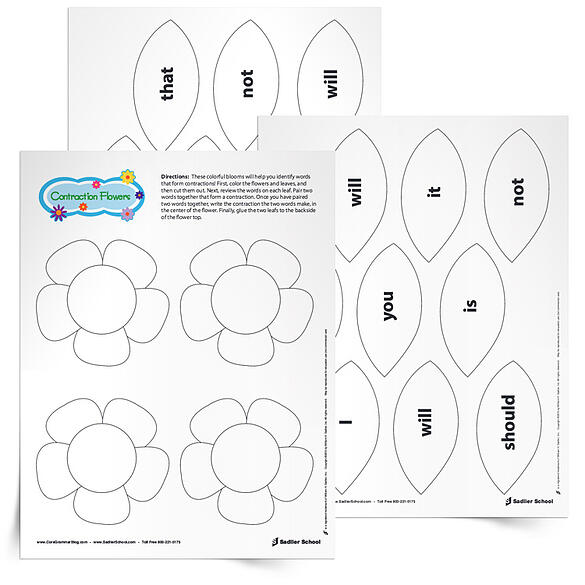 fun-grammar-worksheets-for-spring-contraction-flowers