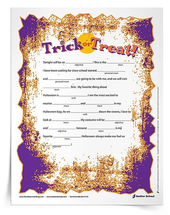 Halloween Grammar Parts of Speech Worksheets for Grades 3–5