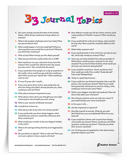 Summer learning activities - Journal writing prompts