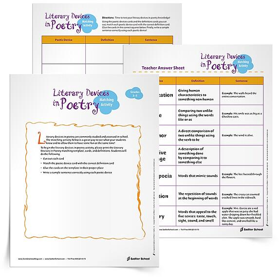 Literary Devices in Poetry Activity Grades 3 5 – Literary Elements Worksheet