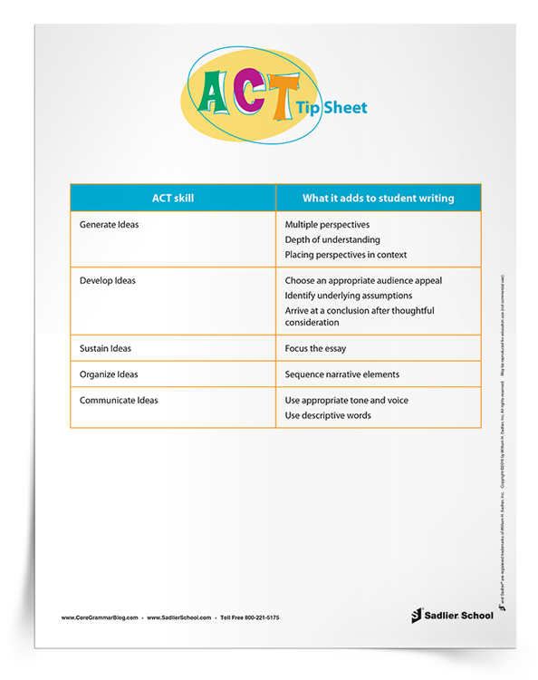 Literacy coaches can download this tip sheet and provide it to teachers to support them in their instruction of skills for the new ACT.