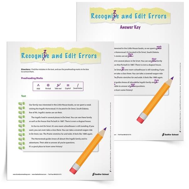 Revising and Editing Worksheets: Ingalls Homestead, Grades 3–5