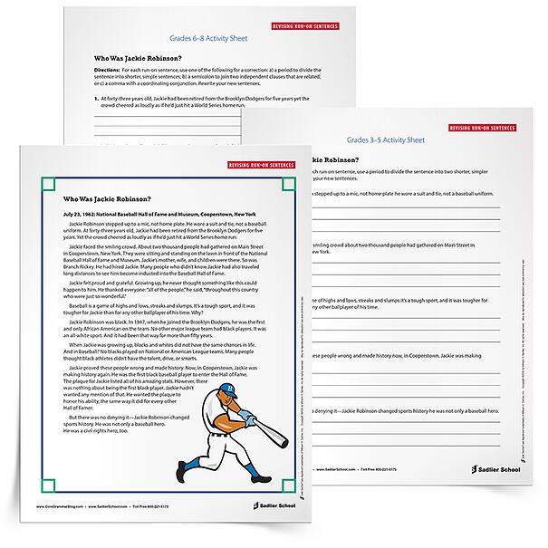 With my free printable run-on sentence practice worksheets students will read a portion of the text Who is Jackie Robinson? by Gail Herman and Nancy Harrison. In addition to the text excerpt, there are two practice sheets – one for Grades 3–5 and one for Grades 6–8. On these practice sheets, students will identify and edit the errors in five different sentences.