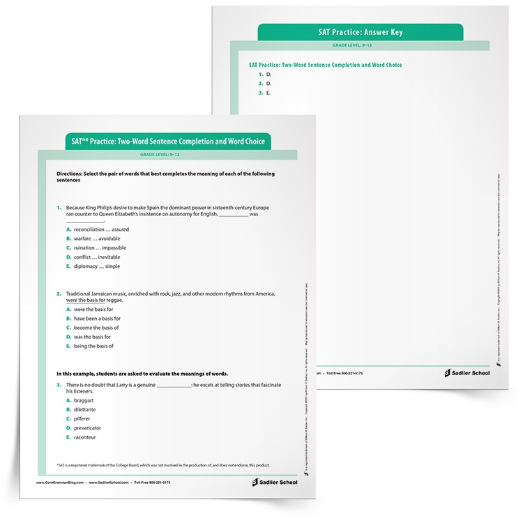 Help students review Sentece Completion with the SAT Test Grammar Practice Worksheet: Two-Word Sentence Completion. The practice worksheet below mirrors the types of sentences students will see on the ACT/SAT exams and their suite of assessments.