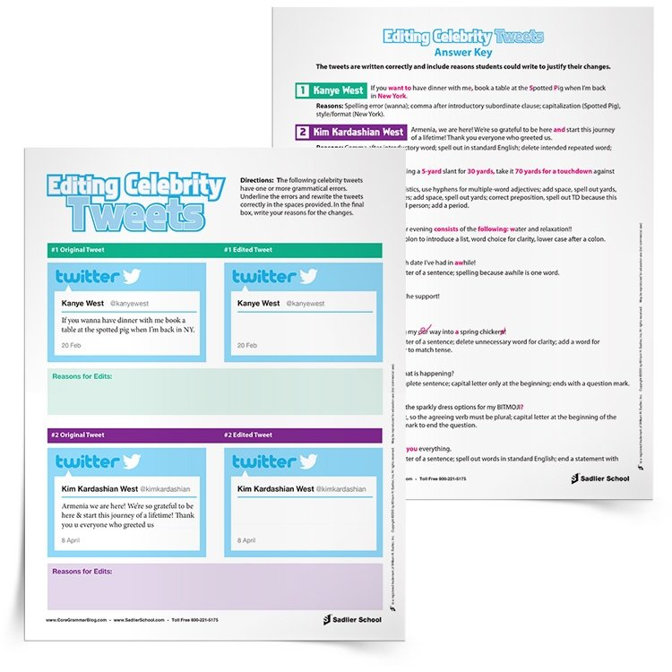 Middle and high school students have a harder time buying into the importance of summer learning activities. With the Editing Celebrity Tweets worksheets, students will read some of their favorite celebrities' tweets to find errors, correct them, and give reasons for their corrections.