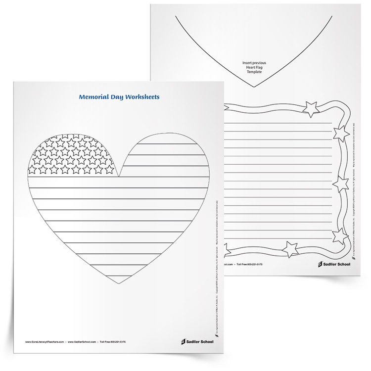 """With these printable worksheets students will color a heart-shaped flag and then write about Independence Day based on a sentence starter. A sentence starter that kids could use is, """"What are your favorite Independence Day celebrations?"""""""