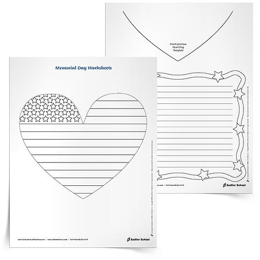 "With these printable worksheets students will color a heart-shaped flag and then write about Independence Day based on a sentence starter. A sentence starter that kids could use is, ""What are your favorite Independence Day celebrations?"""