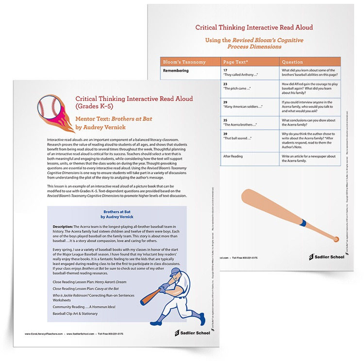Interactive Read Aloud Lesson Plan Template Brothers At Bat By