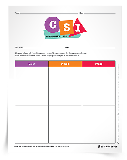 Download the CSI– Color, Symbol, Image Organizer to assist students in identifying the essence of ideas and enhance their comprehension of reading.