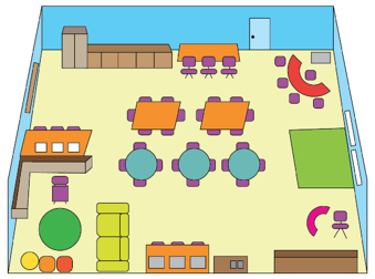 A 21st century classroom design has several key elements including adaptable layout, flexible seating, a small teacher work area, materials that are easily accessible to students, available technology and is literacy-rich.