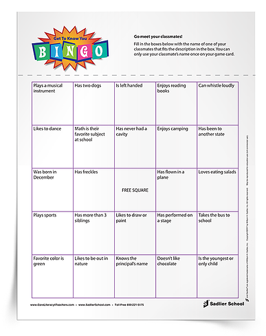 Fun Classroom Icebreakers for Elementary- Get to Know You Bingo worksheet