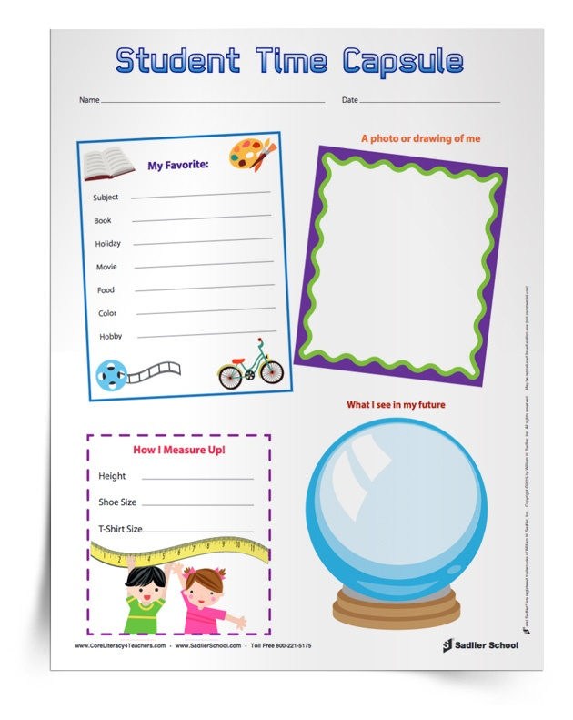 This is an image of Time Capsule Printable Worksheets for school memory