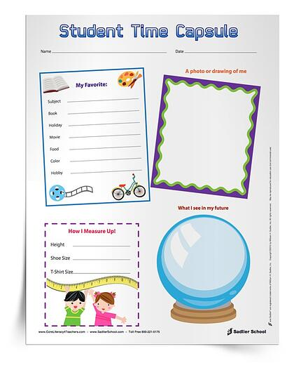 Fun Classroom Icebreakers for Elementary - Student Time Capsule printable worksheet
