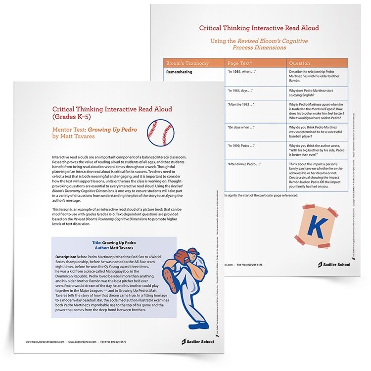 interactive read aloud lesson plan template - baseball lesson plans close reading read alouds