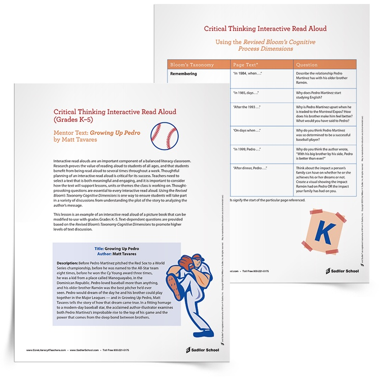 Baseball lesson plans close reading read alouds for Interactive read aloud lesson plan template