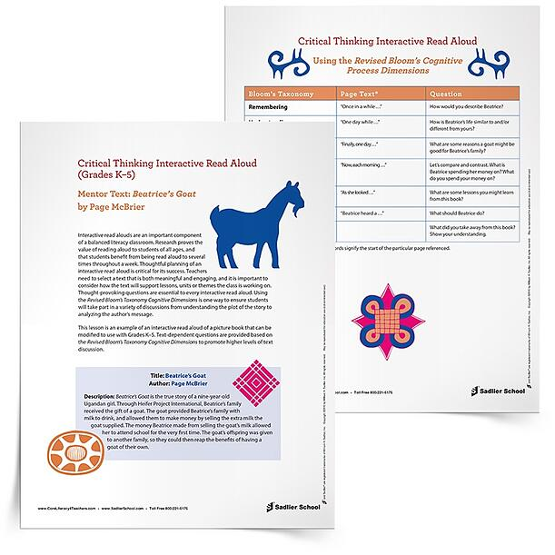 This Critical Thinking Interactive Read Aloud of Beatrice's Goat by Page McBrier provides the thought-provoking questions, essential to every interactive read aloud, and uses the Revised Bloom's Taxonomy Cognitive Dimensions. Your students will soon be in deep discussions, ranging from plot analysis to author's message exploration.