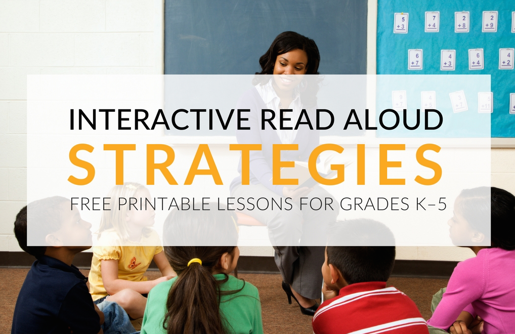 Comprehensive list of Interactive Read Aloud strategies for teachers, literacy specialists, lead teachers etc. Includes 23 FREE printable lessons! An Interactive Read Aloud is when a teacher orally reads a purposefully-selected book to the class, while asking corresponding, thought-provoking discussion questions throughout the reading of the book.