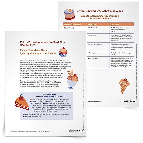 Interactive read aloud lesson template of sweet tooth by for Interactive read aloud lesson plan template