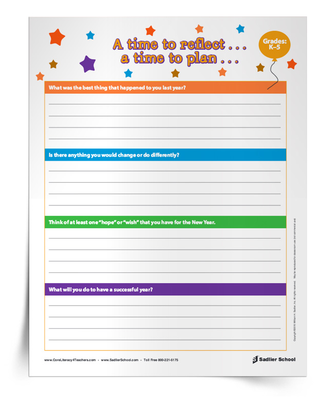 "In January, when my students return to school after the holiday break, I like to give them the opportunity to reflect on the previous year and to set goals for the New Year. Using the ""A time to reflect…a time to plan…"" Writing Activity, students answer the following questions:      What was the best thing that happened to you last year?      Is there anything that you would change or do differently?      Think of at least one ""hope"" or ""wish"" that you have for the New Year.  What will you do to have a successful New Year? new-year-activities-for-students-time-to-reflect.jpg"