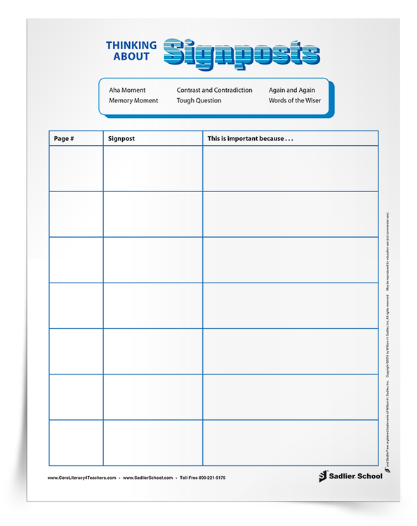 When reading fiction novels, have students use the Thinking About Signposts Organizer to take notes at the signposts.  notice-and-note-signposts-graphic-organizer-note-taking-strategies-for-elementary-students-750px.png