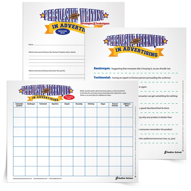 "One Super Bowl lesson plan that has always been a winner is a lesson on ""Persuasive Writing Techniques in Advertising."" I created this Super Bowl lesson plan for grade 5 students, but you can adapt it for other grade levels!  persuasive-writing-lesson-super-bowl-advertising-750px"