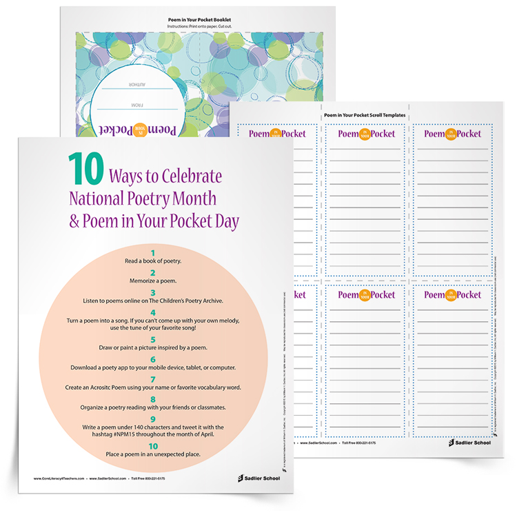 The first worksheet outlines ten ways students can explore poetry. From apps to poetry tweets, this list gives you a variety of ideas for making Poetry Month exciting for your students. The other two poetry resources are specifically for using on Poem in Your Pocket Day, when people throughout the United States select a poem, carry it with them, and share it with others throughout the day.