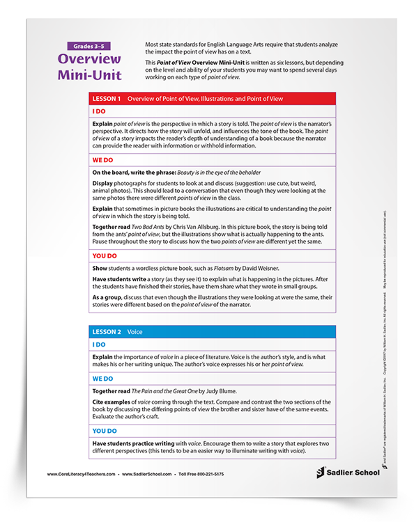 Download a Point of View Overview Mini-Unit that will assist you in exploring each type of point of view in your classroom! This mini-unit is written as six lessons, but depending on the level and ability of your students you may want to spend several days working on each type of point of view.
