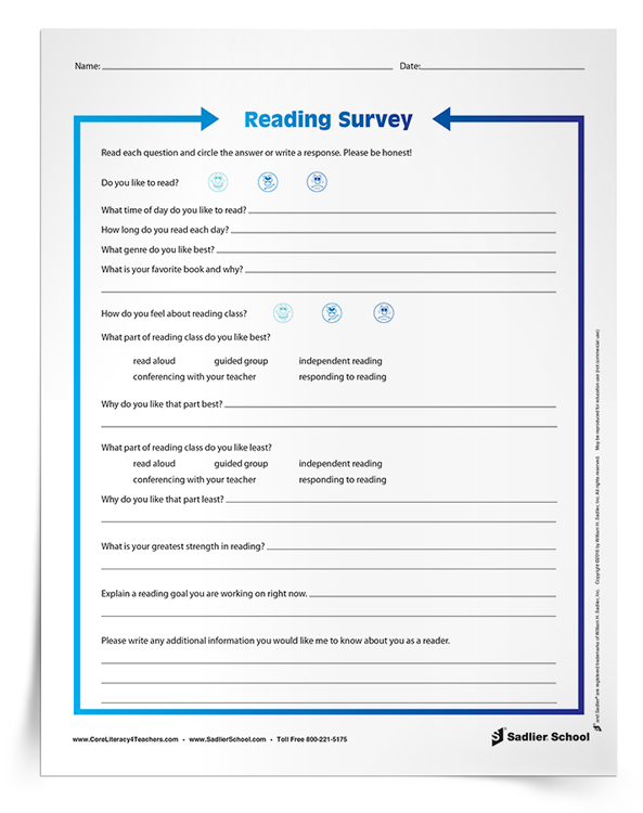 Reading Survey For Students Getting To Know Your New Class Of Readers