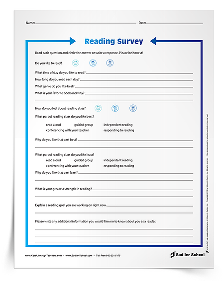 Use a Reading Survey for Students worksheet to ask students questions about their reading likes and dislikes, their goals, and their attitudes about reading class.