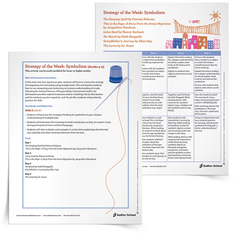 5 Free Reading Comprehension Lesson Plans -Symbolism allows author's to communicate beyond the limits of language. A symbol is a person, place, or object that stands for something beyond itself.  In this four-day lesson plan, students will learn or review the concept of symbolism using multiple texts. This unit teaches students that symbolism is an object or action that means something more than its literal meaning using the Gradual Release of Responsibility instructional model.