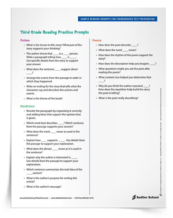 Available for download are reading practice prompts for fiction, nonfiction, and poetry texts. Download Sample Reading Prompts for Standardized Test Preparation for grades 3–5 now.