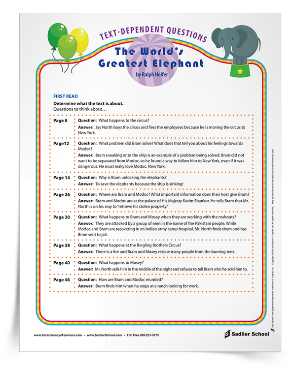 A critical component of close reading lessons are the text-dependent questions for the students to analyze what the text means at deeper levels. Text-dependent questions should be asked after each read. Download a teaching guide with text-dependent questions for The World's Greatest Elephant by Ralph Helfer. The excerpts and text-dependent questions included in this guide will engage your students in close reading and help them develop a deeper level of comprehension about the text.