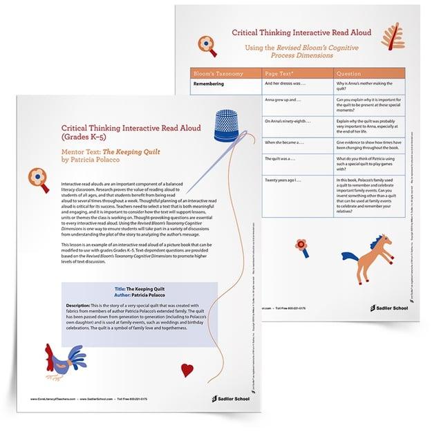 interactive read aloud lesson plan template - interactive read aloud of the keeping quilt by patricia