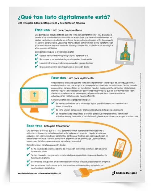 El reto que enfrentan los líderes catequéticos y escolares es integrar las tecnologías digitales y usarlas cuando y donde sea apropiado. Descargue una lista de consideraciones generales para la preparación digital y compártala con sus catequistas y profesores.
