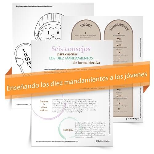 Este Kit de instrumentos Enseñando los diez mandamientos a los jóvenes presenta el libro electrónico Seis consejos para enseñar los diez mandamientos de forma efectiva, un recurso imprimible de los diez mandamientos y una página para colorear.