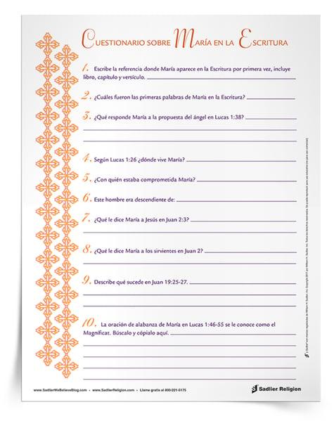 La Actividad: Cuestionario sobre María en la Escritura tendrá como objetivo que los estudiantes encuentren, lean y citen pasajes de sus Biblias relacionados con María, Madre de Dios.