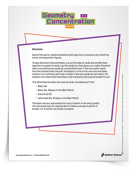 Math Activities That Promote Student Collaboration in the Classroom - Geometry Concentration K-3