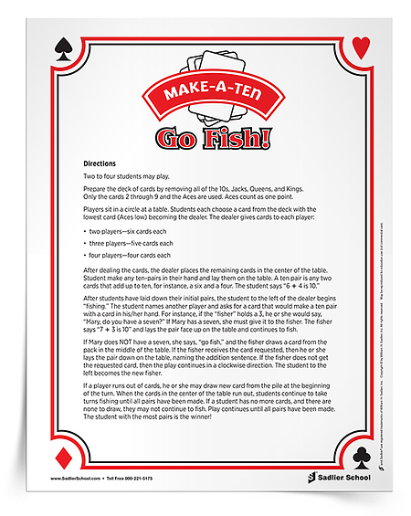 "This collaborative ""Go Fish"" game perfect for the early grades when students are learning about ten pairs. To get playing, you'll need a deck of cards and my printable instructions."