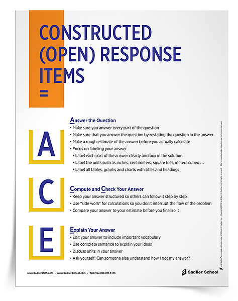 Math test-taking strategies for elementary students! When you download the A.C.E. Constructed (Open) Response Items Poster and Tip Sheet, you will be able to remind your students about these strategies! math-test-taking-strategies-open-response-items-750px.png