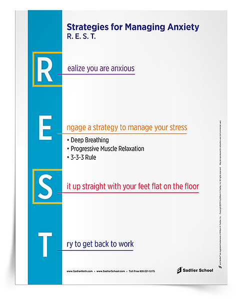 The mnemonic for managing test anxiety is R.E.S.T. is something I go over with students on a regular basis. Whether preparing my students for an exam or notice students seem anxious during a regular class period, these strategies are helpful to review! The R.E.S.T Strategies for Managing Anxiety poster is a great way to remind students of the mnemonic for test-taking strategies they can use.