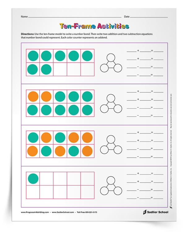 Connecting Ten Frame Activities to Number Bonds and Number Sentences ...