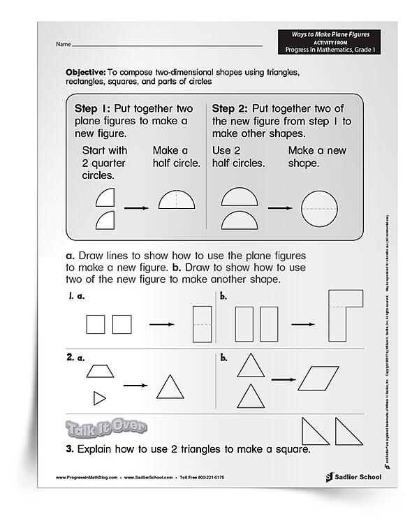 Download the Ways to Make Plane Figures worksheets and use them as a classroom activity, homework assignment, or formative assessment. This two-page document and its answer key will help you assess your students' progress.
