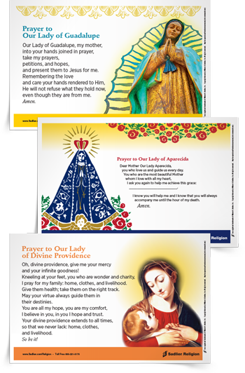 IDEA #6: DEVOTIONS TO MOTHER MARY-  During May, Mary is specially honored by devotions around the world.  Marian devotions are an integral and important part of our Catholic tradition. These Marian Devotion Prayer Cards each feature Mary, the Mother of God, from a different Latin American culture.