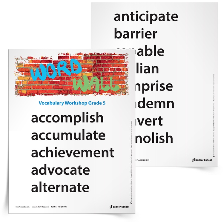5th Grade Vocabulary Wall Printable– Hanging a word wall in the 5th grade classroom will provide students with vocabulary support during writing assignments, encourage vocabulary practice, and strengthen reading skills. Download a Word Wall printable with vocabulary words for your 5th grade classroom.