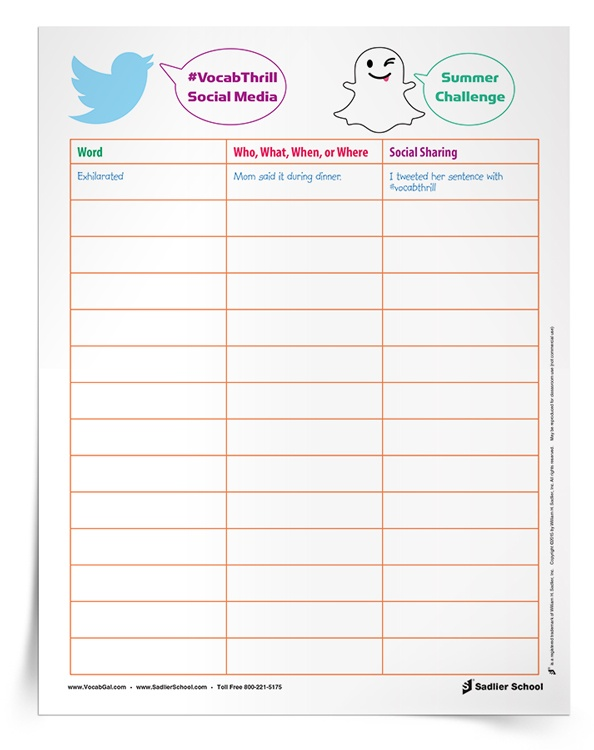 Encourage students to keep track of their vocabulary moments this summer with a Social Media Summer Challenge! With this summer vocabulary worksheet students will record the vocabulary words they spot during their break and then share them on social media.