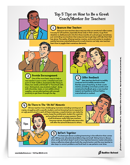 Mentors and instructional coaches help teachers survive and thrive in the though world that is education. They also help shape teachers into strong, dedicated professionals who may one day become mentors themselves. This tip sheet outlines the top five ways a mentor or instructional coach can help support new (and veteran) teachers.  Download the Top 5 Tips on How to be a Great Coach/Mentor for Teachers Tip Sheet now.